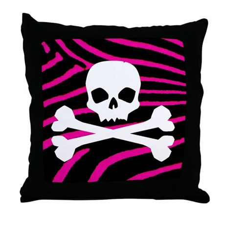 Goth Skull Throw Pillow