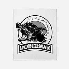Doberman white Throw Blanket