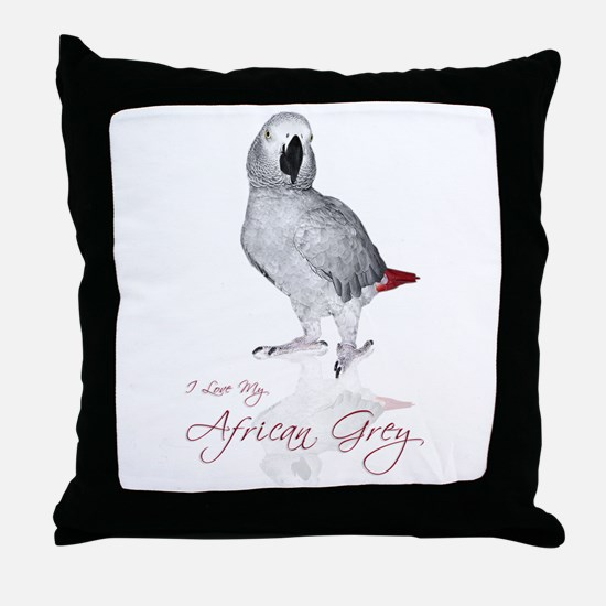 i love my african grey Throw Pillow