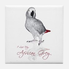 i love my african grey Tile Coaster