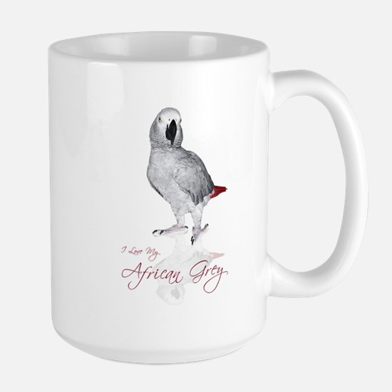 i love my african grey Large Mug
