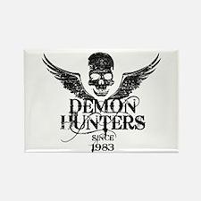 Demon Hunters Skull Wings black Rectangle Magnet