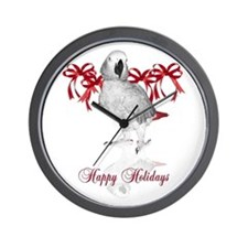 african grey parrot holiday Wall Clock