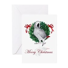 african grey christmas Greeting Cards (Pk of 10)