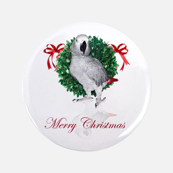 "african grey christmas 3.5"" Button"