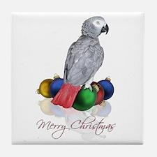 african grey christmas Tile Coaster