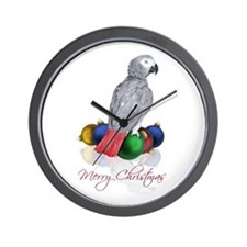 african grey christmas Wall Clock