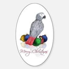african grey christmas Sticker (Oval)