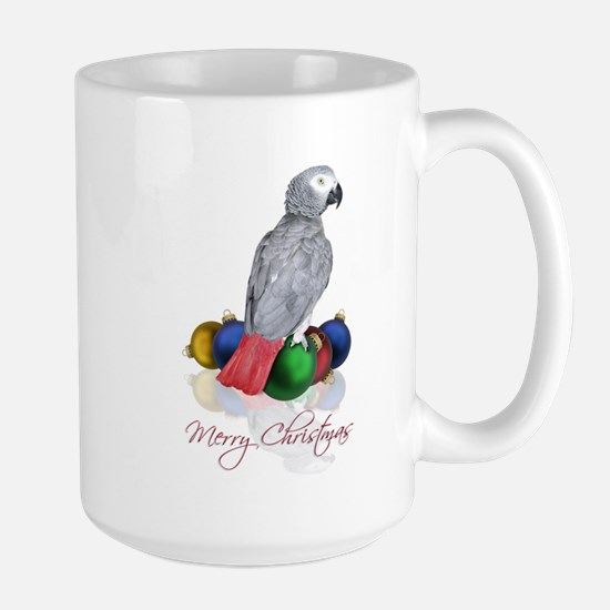 african grey christmas Large Mug