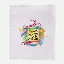 F Up Cancer Throw Blanket