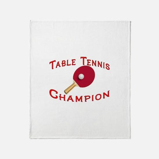 Table Tennis Champion Throw Blanket