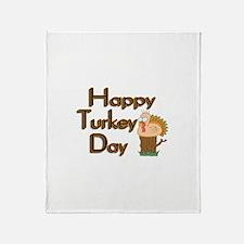 Happy Turkey Day Throw Blanket