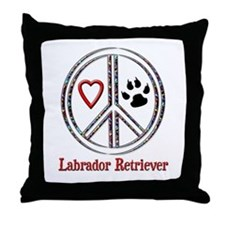 Peace Love Lab Throw Pillow