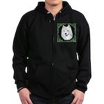 Christmas Samoyed Zip Hoodie (dark)