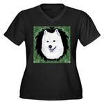 Christmas Samoyed Women's Plus Size V-Neck Dark T-