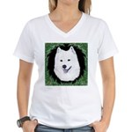 Christmas Samoyed Women's V-Neck T-Shirt