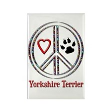 Peace Love Yorkie Rectangle Magnet