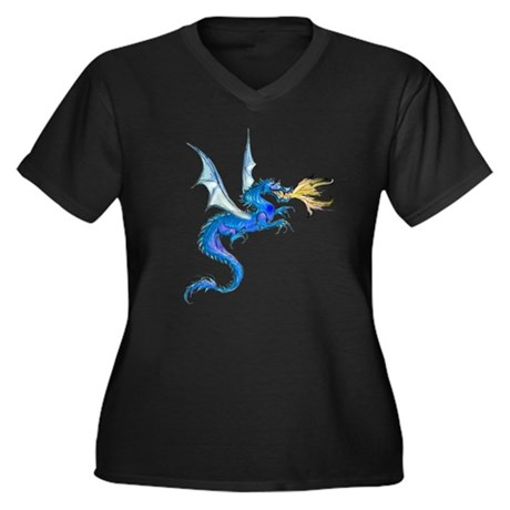 Blue Dragon Women's Plus Size V-Neck Dark T-Shirt
