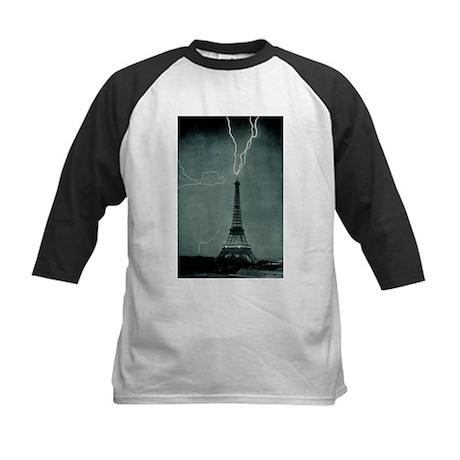 Eiffel Tower Lightning Kids Baseball Jersey