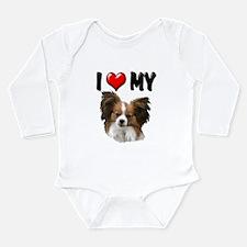 I Love My Papillon Long Sleeve Infant Bodysuit