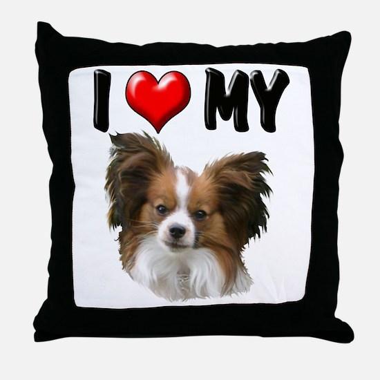 I Love My Papillon Throw Pillow