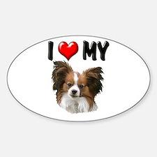 I Love My Papillon Sticker (Oval)