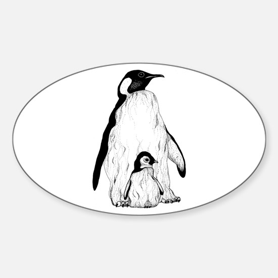 Penguin Parent and Baby Oval Decal