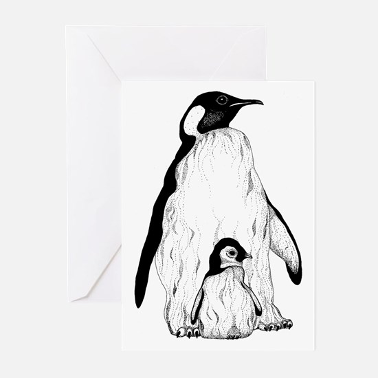 Penguin Parent and Baby Greeting Cards (Package of