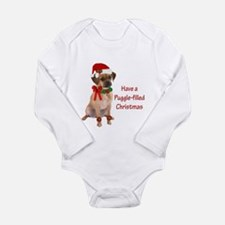 Christmas Puggle Long Sleeve Infant Bodysuit