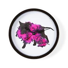 Pink Boa Puppy Wall Clock