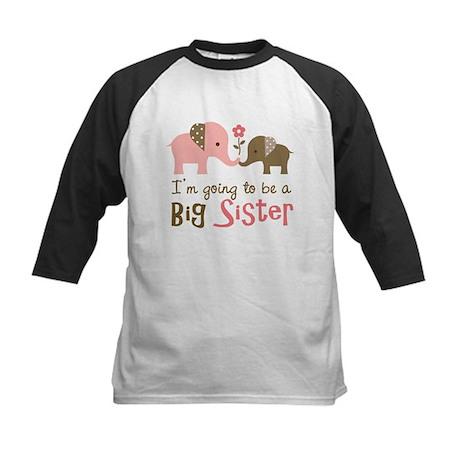 Big Sister to be - Mod Elephant Kids Baseball Jers