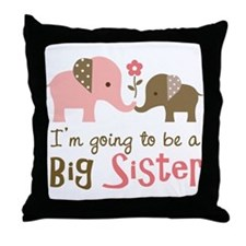 Big Sister to be - Mod Elephant Throw Pillow