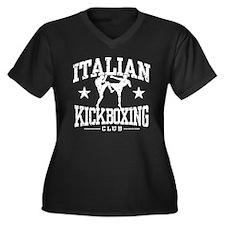 Italian Kickboxing Women's Plus Size V-Neck Dark T