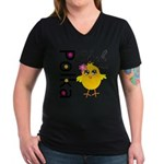 Polka Chick Women's V-Neck Dark T-Shirt