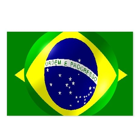 Brazil flag with bubble Postcards (Package of 8)