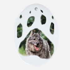 Norwegian Elkhound paw Ornament (Oval)