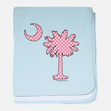 Pink polka dot palmetto baby blanket