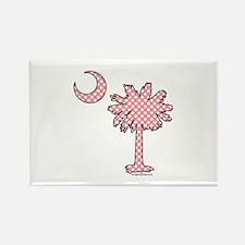 Pink polka dot palmetto Rectangle Magnet