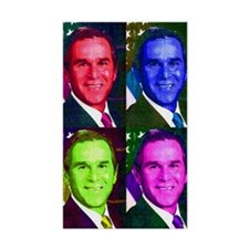 Colorful George W. Bush Rectangle Decal