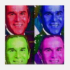 Colorful George W. Bush  Tile Coaster