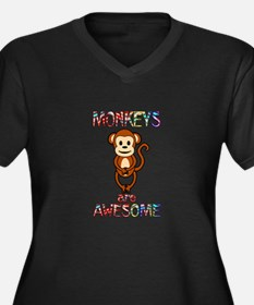MONKEY Women's Plus Size V-Neck Dark T-Shirt