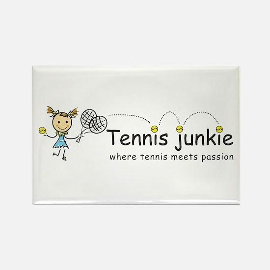 Tennis Junkie Rectangle Magnet