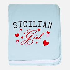 Sicilian Girl Hearts baby blanket