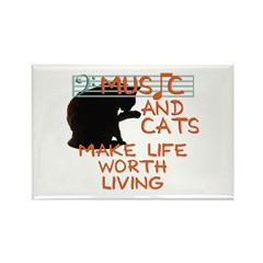 music and cats Rectangle Magnet (10 pack)