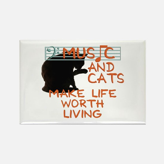 music and cats Rectangle Magnet