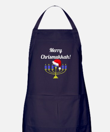 Merry Chrismukkah Menorah Apron (dark)