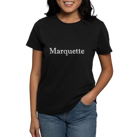 White Font Marquette Women's Dark T-Shirt
