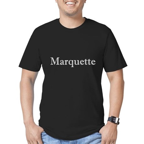 White Font Marquette Men's Fitted T-Shirt (dark)