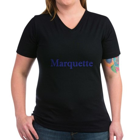 Blue Font Marquette Women's V-Neck Dark T-Shirt