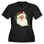 Vintage Santa Women's Plus Size V-Neck Dark T-Shir